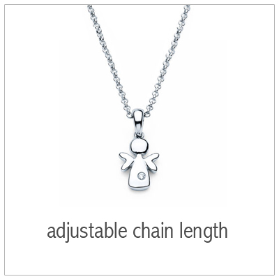 Adorable angel necklace with genuine diamond. Add an engraved disc. Adjustable chain. Kids jewelry