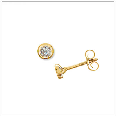 14kt gold bezel earrings for children set with 3mm clear cubic zirconia; push-on and screw-off backs.