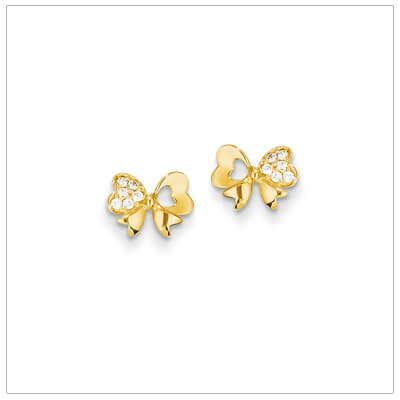 Adorable 14kt gold bow earrings for children set with clear sparkling czs. Childrens bow earrings have push on backs.