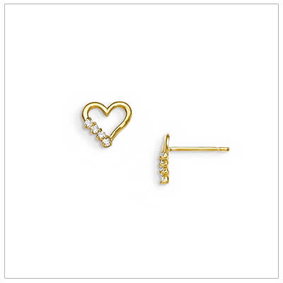 14kt gold open heart earrings for baby and child set with 4 clear sparkling czs.