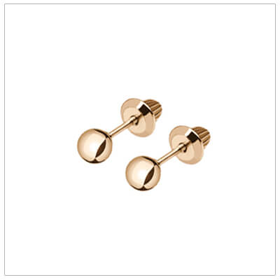 Gold ball baby earrings in 14kt yellow gold with screw backs. Gold ball earrings for babies and toddlers.