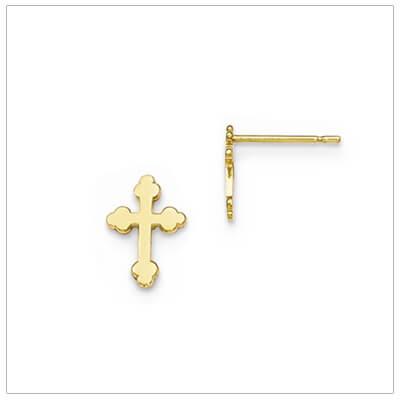 14kt gold Cross earrings for children in the budded Cross design.