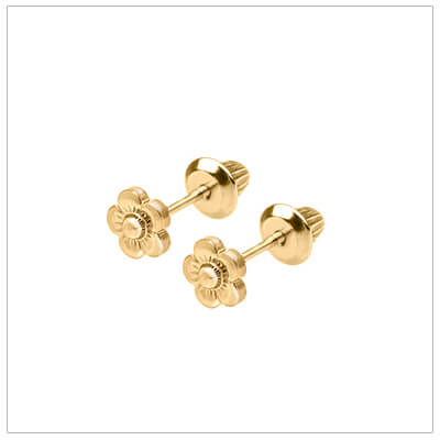 14kt gold flower earrings for babies and children with screw backs. Screw back earrings for children.