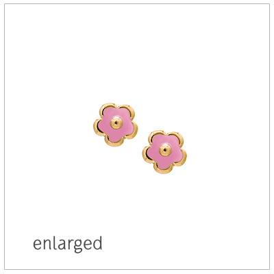 Pink flower earrings for babies and children in 14kt yellow gold; screw back earrings.