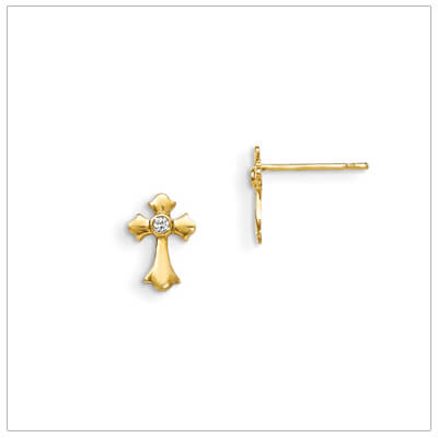 14kt gold small Cross earrings for children set with clear cz; push on backs.
