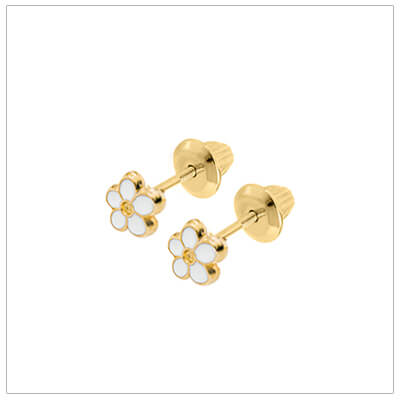 14kt white daisy flower earrings for baby and child; gold screw back earrings.