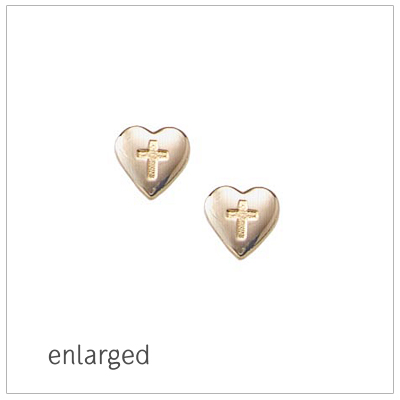 Gold filled screw back earrings for girls, hearts with engraved Cross.