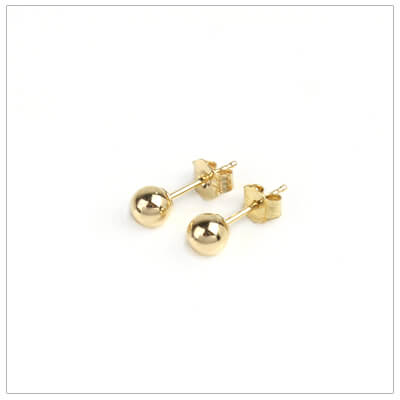 14kt gold ball earrings for children, 4mm ball earrings.
