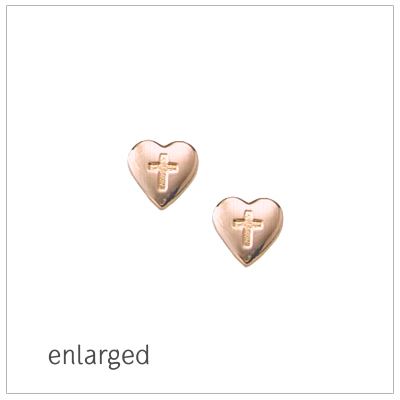 14kt Rose Gold Heart Cross Earrings