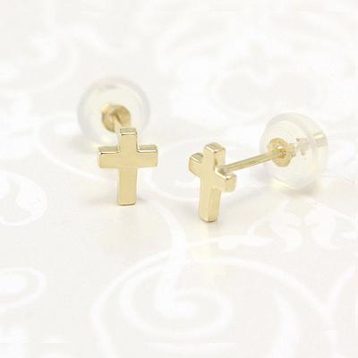 14kt Gold Small Cross Earrings