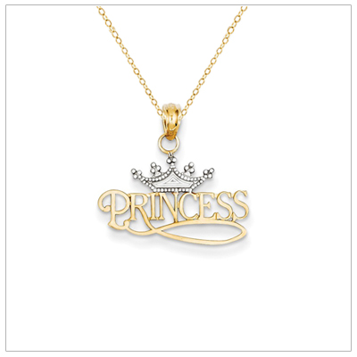 14kt gold Princess necklace for girls with adjustable chain included.