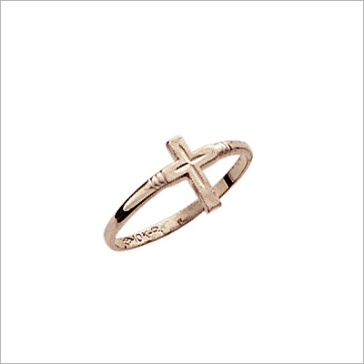 10kt gold Cross ring for children with diamond-cut design.