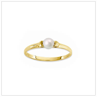 14kt gold and pearl ring for children with two tiny side hearts.