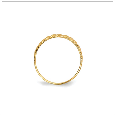 Side view of girls 14kt gold twist ring.
