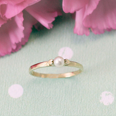 Girls 14kt Gold and Pearl Rings