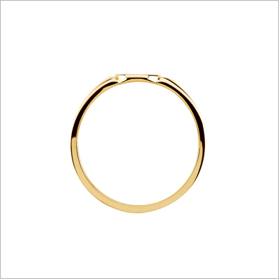 Side view of girls gold signet ring.