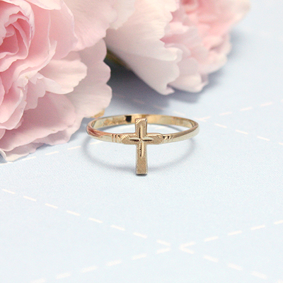 Cross ring for children in 10kt yellow gold; First Communion gift.