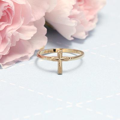 Childs 10kt Gold Cross Ring