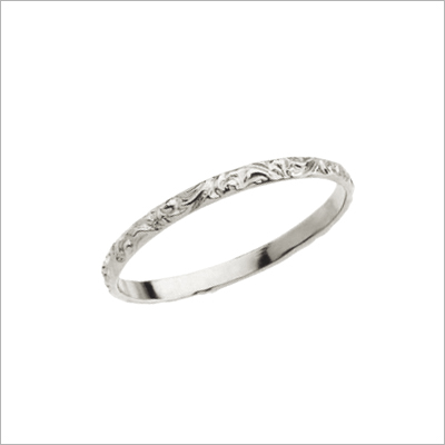 14kt Etched White Gold Ring - 1338