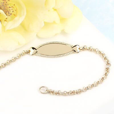 Gorgeous 14kt gold filled ID bracelet for girls with two small hearts.