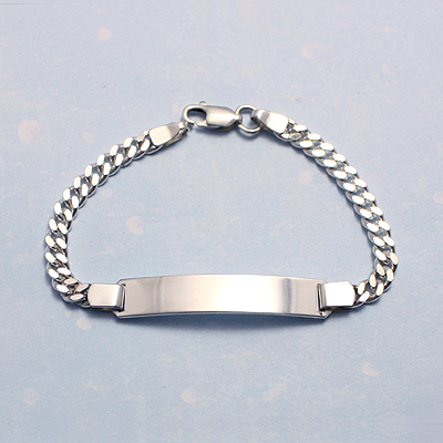 Sterling silver ID bracelets for older boys with a larger name plate and curb chain.