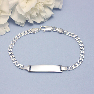 Sterling silver id bracelet for little boys with front engraving included.