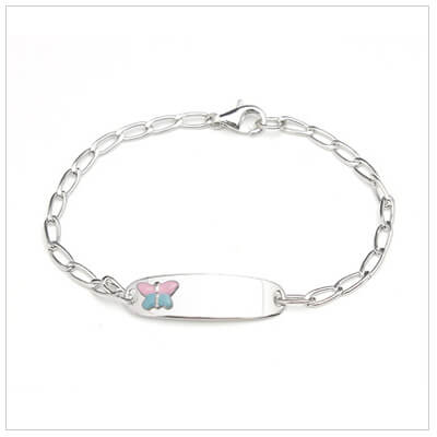 Girls sterling id bracelet with pink and blue butterfly on front plate. Front engraving included.