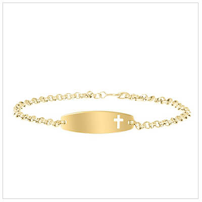 Cross cut out id bracelet for kids in 14kt gold filled. Front engraving is included.