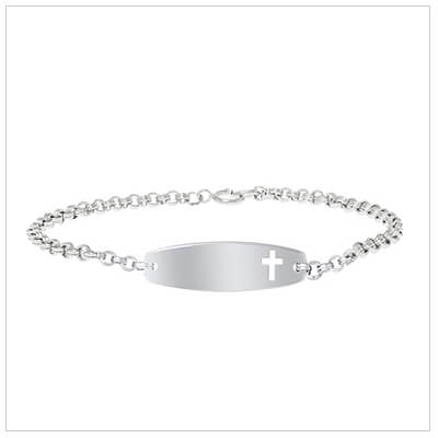 Sterling id bracelet for girls and boys with a Cross cut out. Front engraving included.
