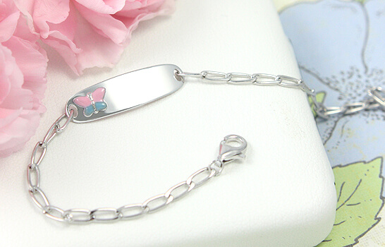 ID bracelet for girls in sterling silver with a pink and blue butterfly.