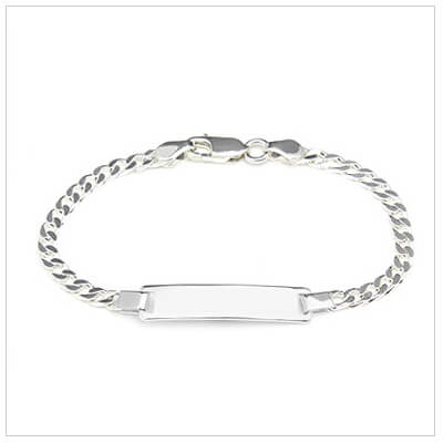 Boys traditional id bracelet in sterling silver. Engraving on front is included.