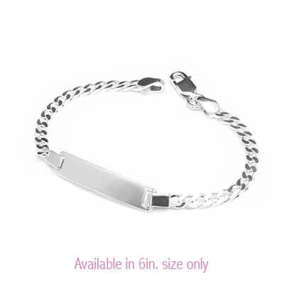 Traditional silver id bracelet for young boys with front engraving included.
