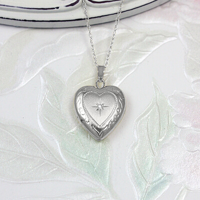 White Gold Diamond Heart Locket for children with white gold chain-locket necklace
