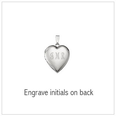 White gold locket with engraving on back