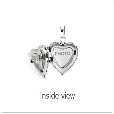 Heart shaped diamond locket opens to hold small photo