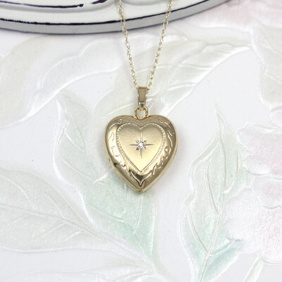 14kt Gold Diamond Heart Locket for children with genuine diamond and custom engraving