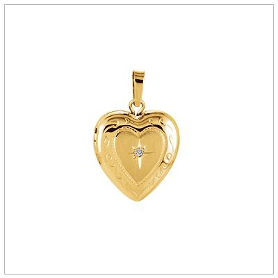 14kt Gold Diamond Heart Locket - 1482-yellow