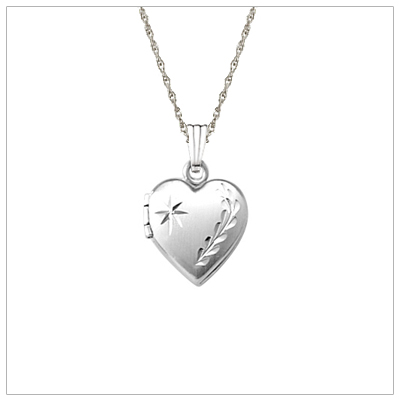 "Sterling hand engraved locket for girls, heart locket holds small photo. Kids jewelry. 15"" chain included."