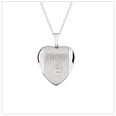 Sterling heart shaped locket engraved with Cross and Baptism. Custom engrave the back of the heart locket.