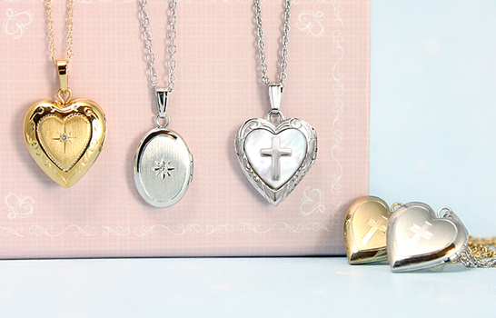 Children's lockets in sterling silver and gold, heart shaped lockets, Cross lockets, diamond lockets.