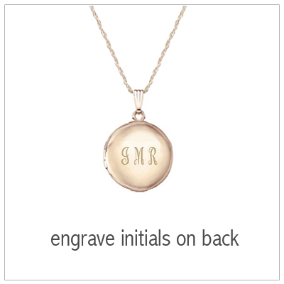 14kt Gold Filled round locket with engraving on back