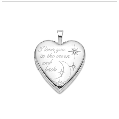 "Locket necklace in sterling silver engraved with ""I love you to the moon and back"". The locket is set with a genuine diamond and chain is included."