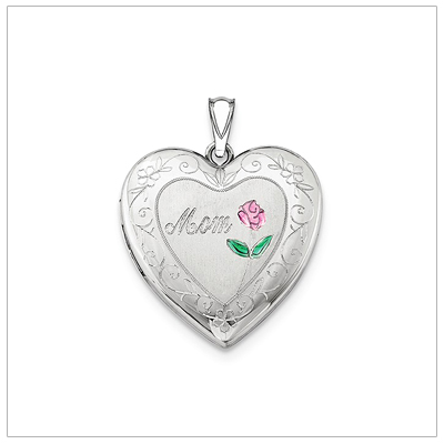 "Sterling silver heart locket engraved with the word ""Mom"". Add custom engraving to the back of the locket. Included chain."