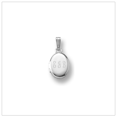 Sterling diamond locket necklace for children in an oval shape. The locket necklace has a genuine diamond on the matte finished front, engrave the back.