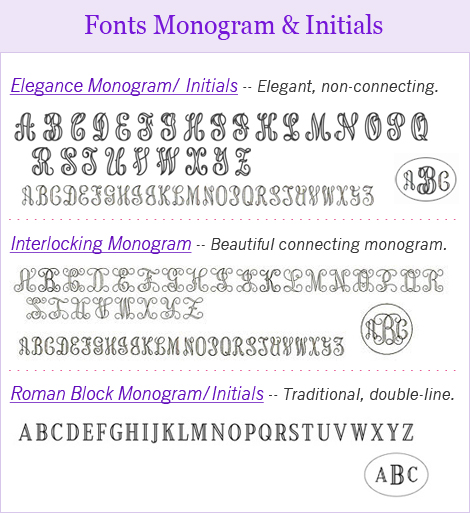 Monogram and initials engraving fonts for locket necklaces.