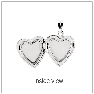 Heart shaped diamond locket opens to hold small photo