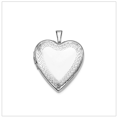 Locket necklace in sterling silver with a braided border. Engrave the front and back of the heart locket.