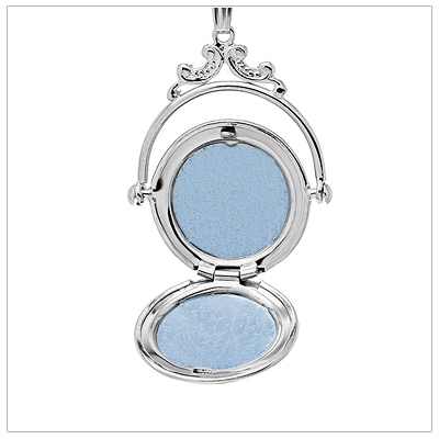 Locket necklace opens and holds two small photos.