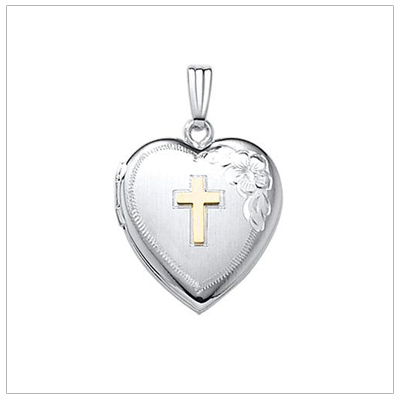 Fine quality heart locket in sterling silver with a 14kt gold Cross. The back can be personalized with custom engraving.