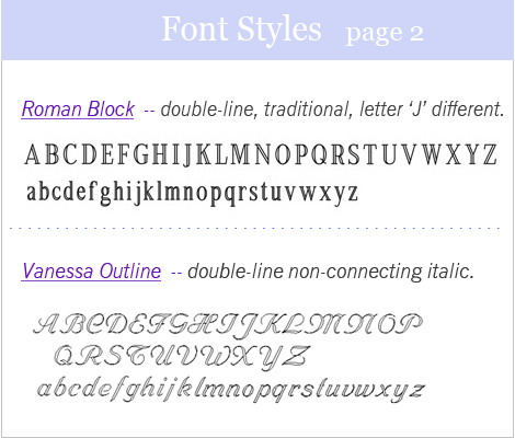 font styles page two